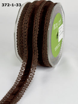 Brown Velvet Crochet Trim Ribbon Brown Vintage Shabby Chic Ribbon
