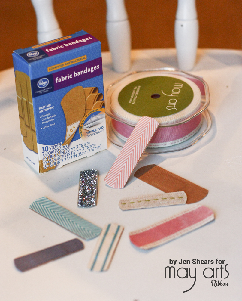 Use Your Ribbon Scraps to Make Ribbon Covered Band-Aids