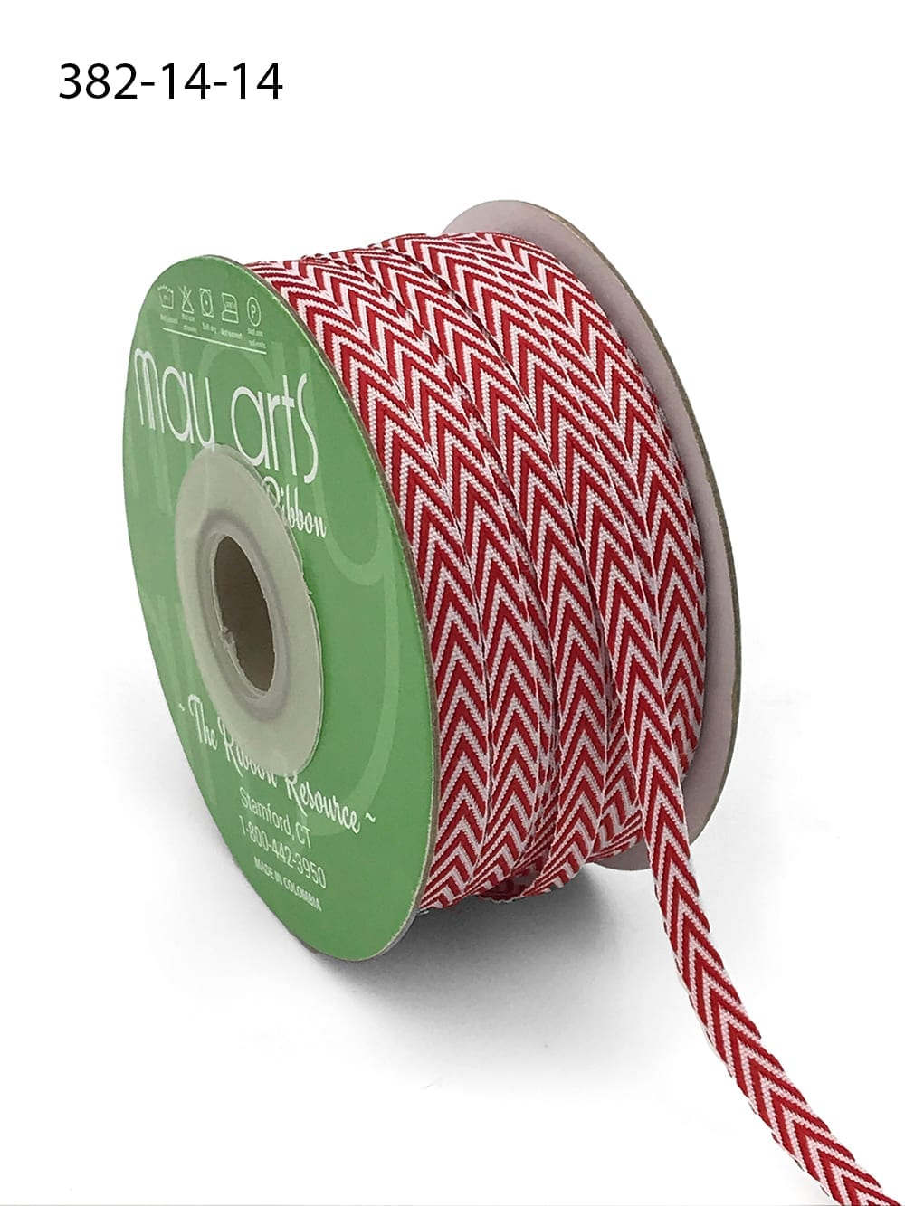 red and white chevron twill ribbon