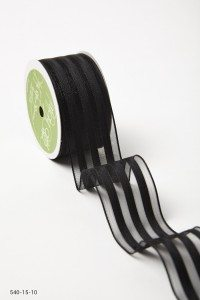 Black Sheer With Solid Stripes (Wired) Ribbon
