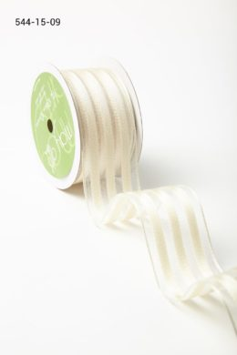 Ivory Sheer with Woven Stripes Ribbon
