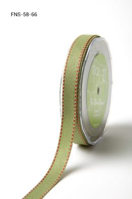 Sage Green w/ Red Stitch Twill Ribbon w/ Red Stitched Edge Ribbon