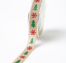 Red/Green Faux Jute w/ Mini Snowflake/Tree Ribbon