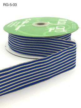 royal blue and dark ivory tan striped grosgrain ribbon