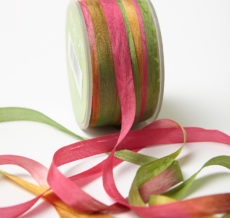 Fuchsia/Green Variegated Silk Ribbon