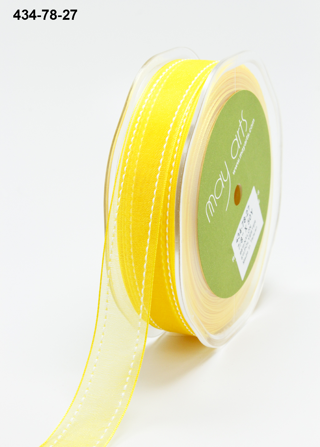 Variation #155132 of 7/8 Inch Sheer / White Stitched Edge Ribbon 1