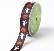 BLACK PUMPKIN/GHOST Grosgrain w/ Print Ribbon
