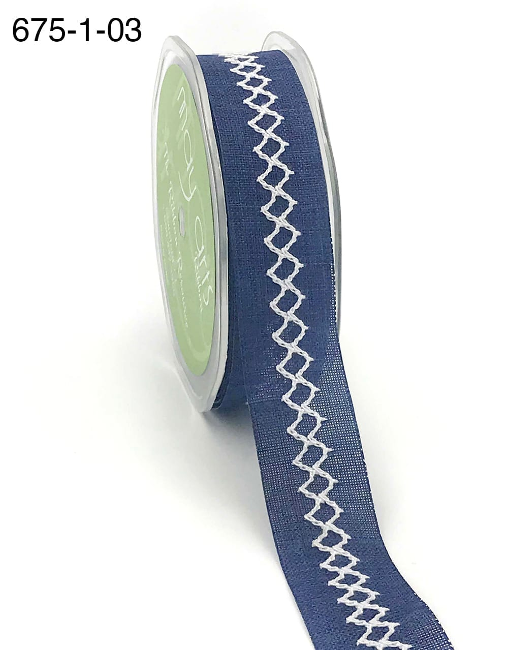 navy and white diamond stitch canvas linen ribbon