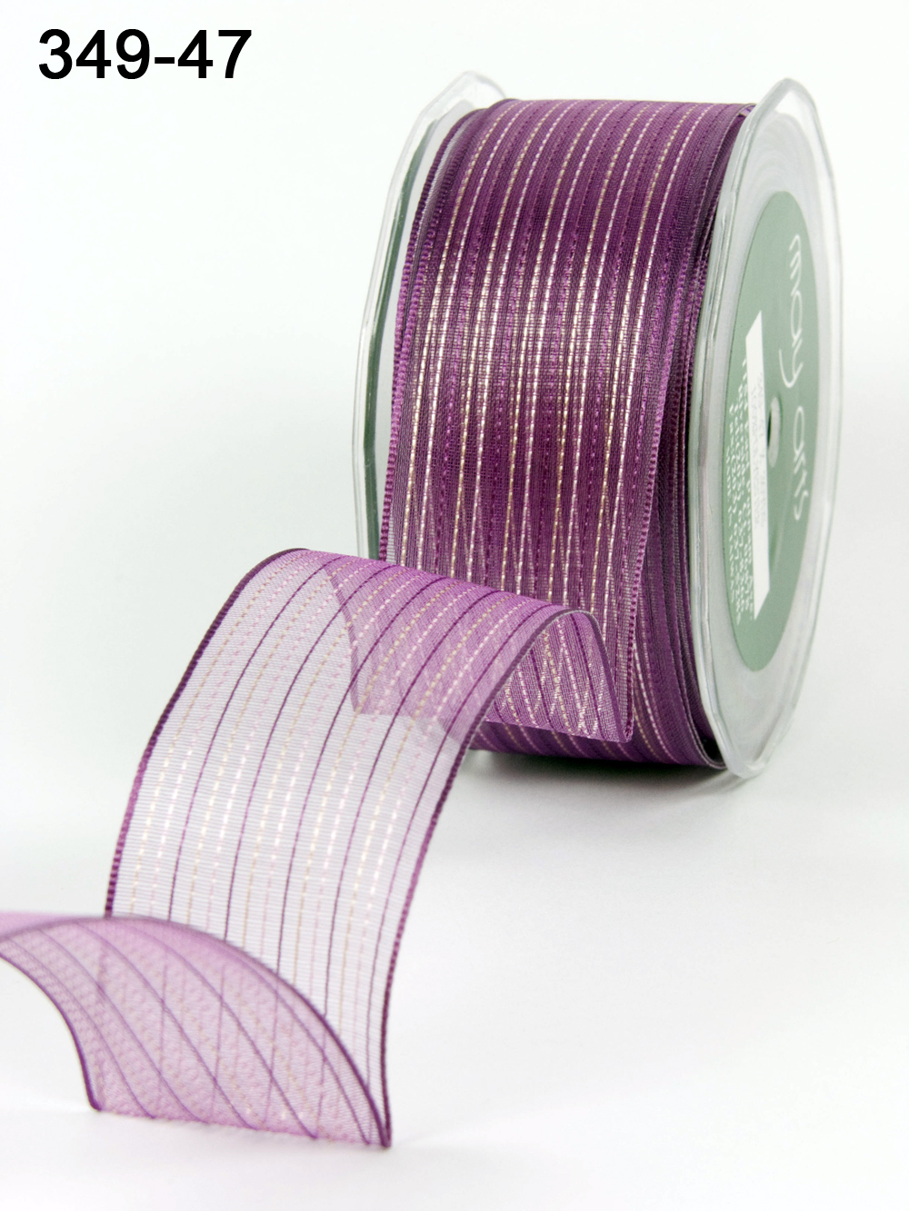 Variation #154181 of 1.5 Inch Sheer / Pinstipes (Wired) Ribbon