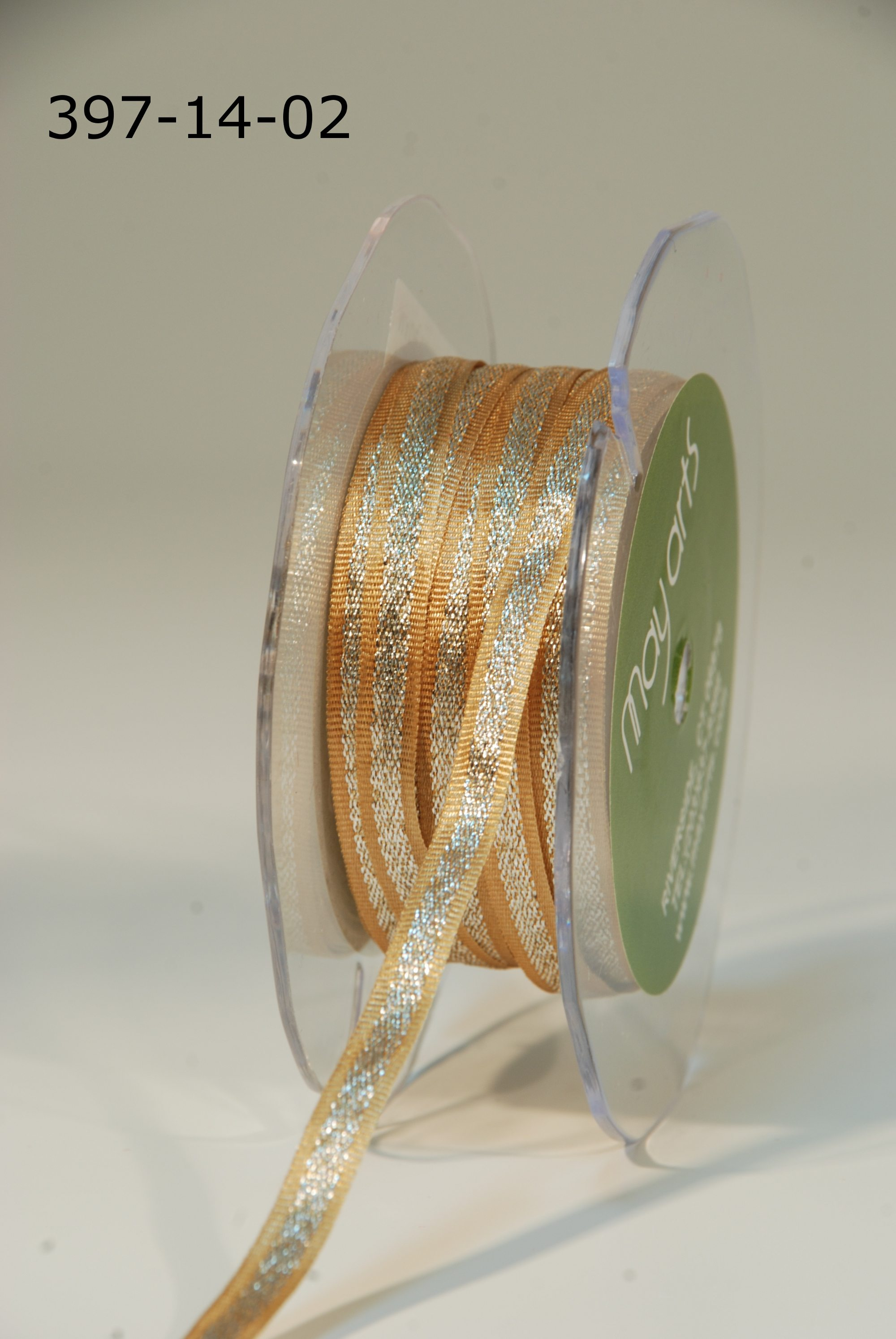 Variation #154780 of 1/4 Inch Satin / Metallic Silver Center Ribbon 1