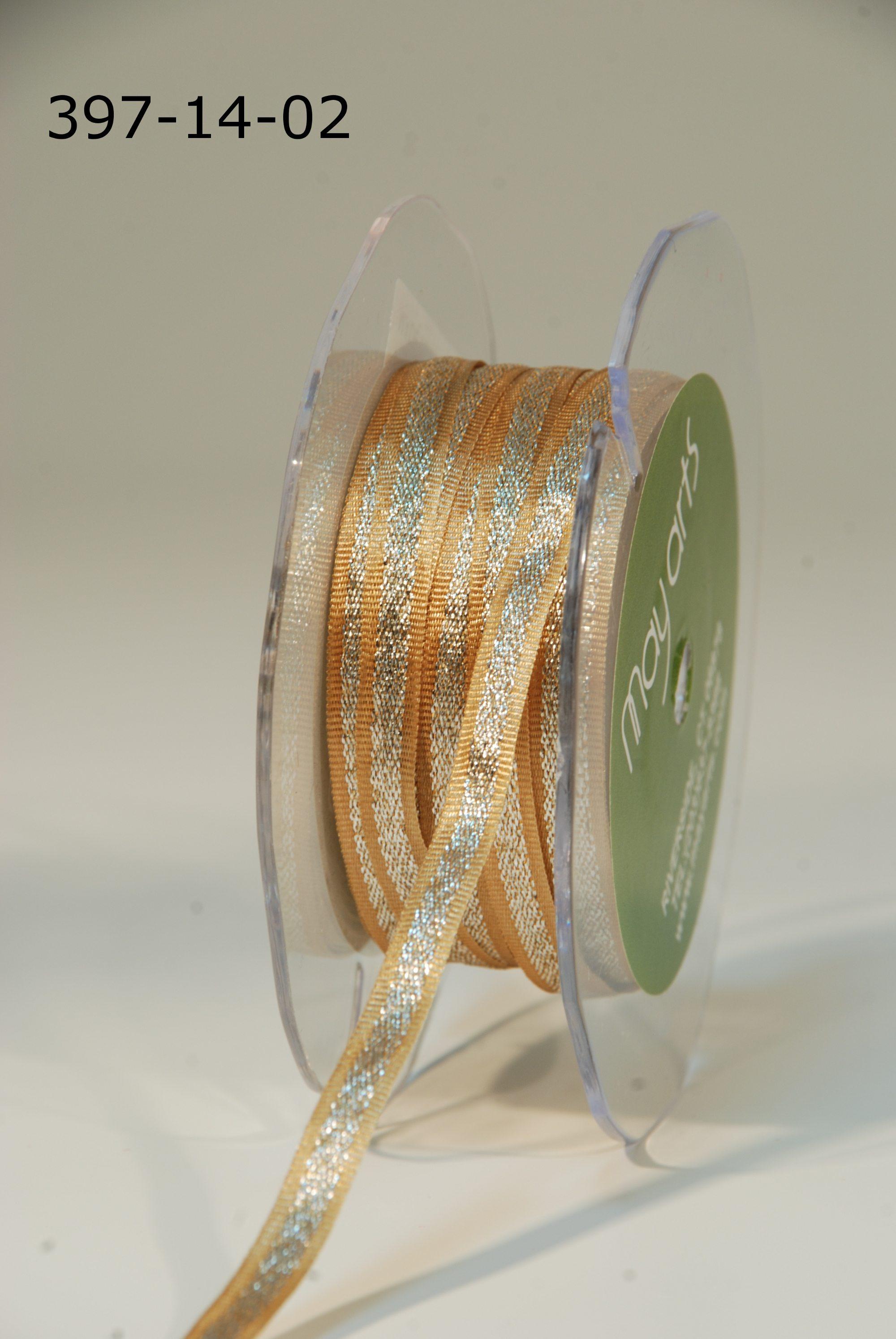 Variation #154780 of 1/4 Inch Satin / Metallic Silver Center Ribbon 1