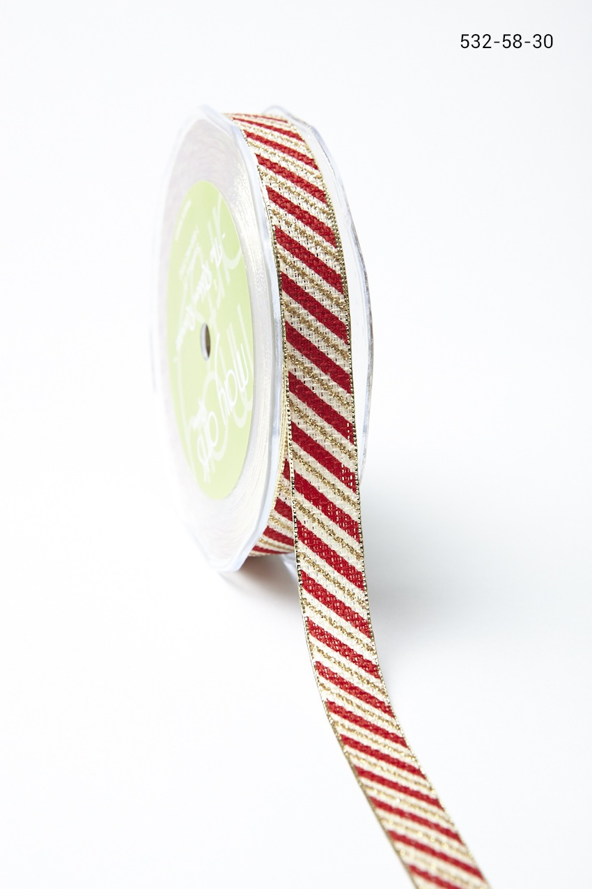 Variation #155993 of 5/8 Inch Candy Cane Ribbon with Metallic Edge