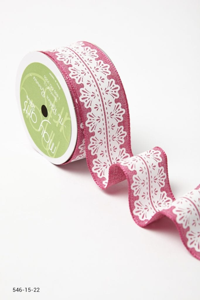 Variation #157292 of 1.5 Inch White Lace Center Design Ribbon