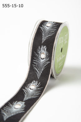 Variation #193539 of 1.5 Inch Peacock Feather Ribbons with Woven Edges