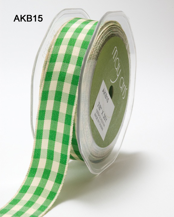 Variation #0 of 7/8 Inch Solid Ivory Checkered Ribbon
