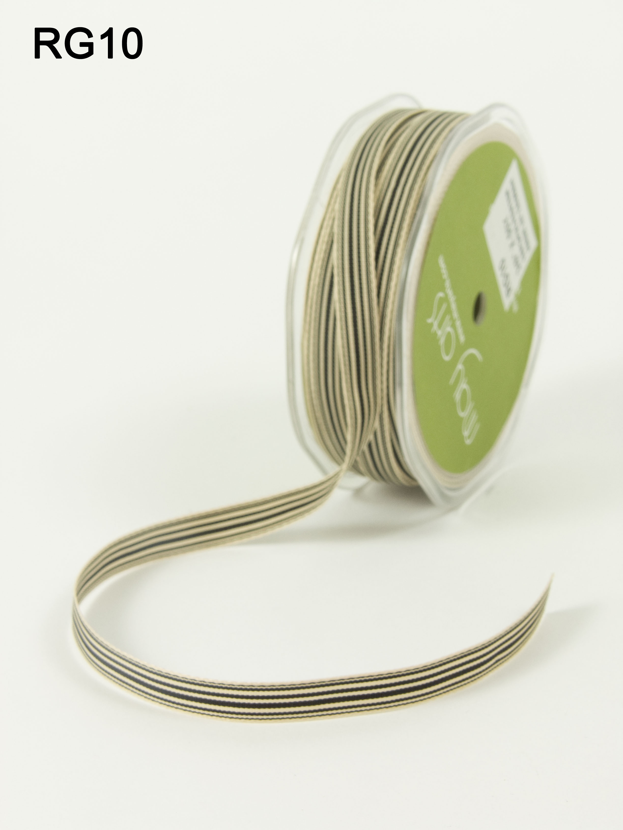 Variation #0 of 3/8 Inch Grosgrain Ivory Striped Ribbon 1
