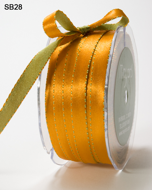 Variation #0 of 3/8 Inch Satin Reversible Ribbon w/ Stitched Edge 1
