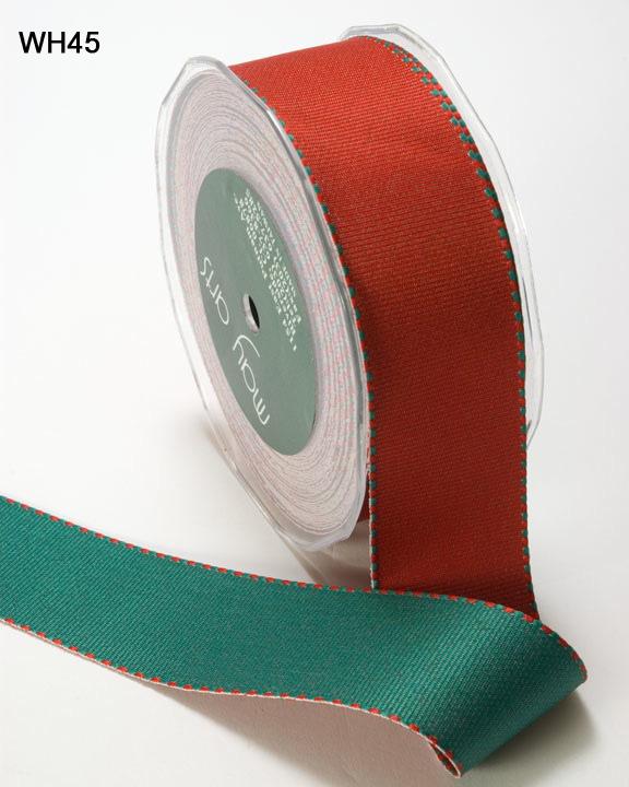 Red and Green Grosgrain Reversible Ribbon