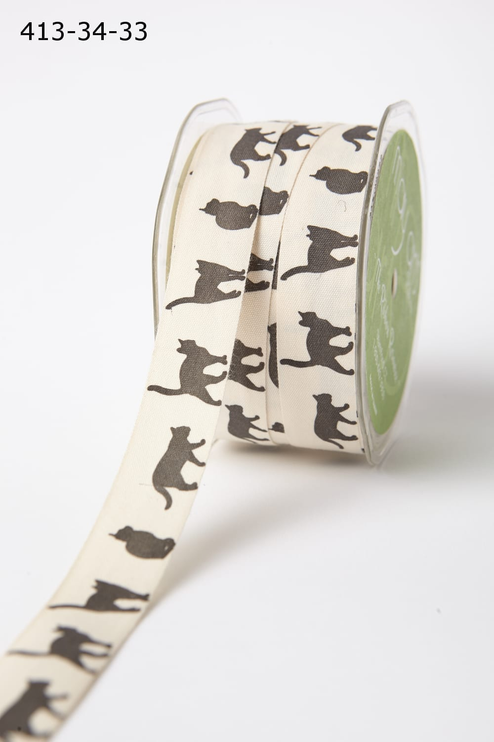 Cat Silhouette Cotton Ivory Canvas with Fun Print Ribbon