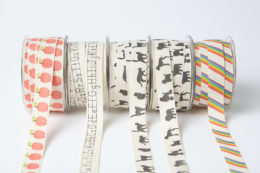 """413-34 3/4""""x30y Cotton Ivory Canvas with Fun Print Ribbon"""