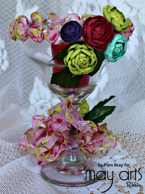 Diy Floral Wine Glass Candle Holder Online Ribbon May Arts