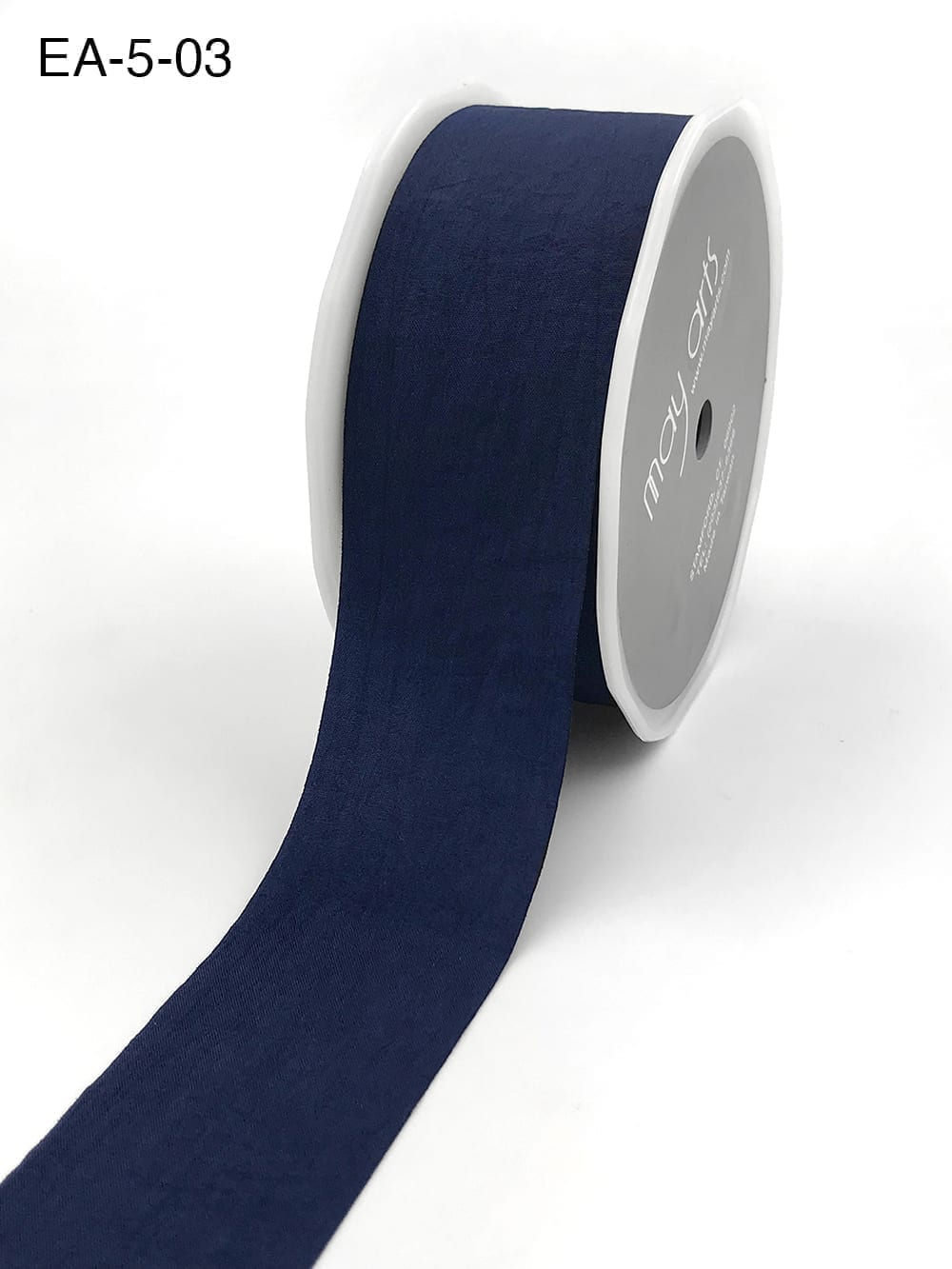 navy blue faux silk wrinkled nylon ribbon