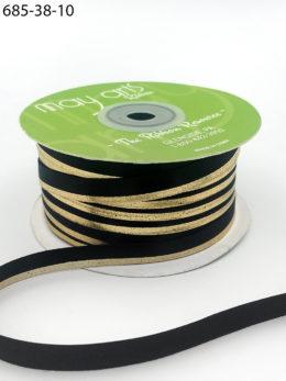 black gold foil satin invitation ribbon