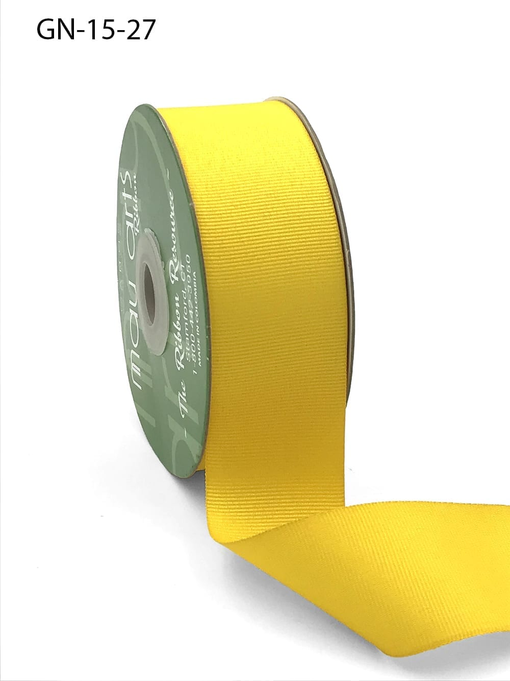 1.5 Inch Light-Weight Flat Grosgrain Ribbon with Woven Edge - GN-15-27 Yellow