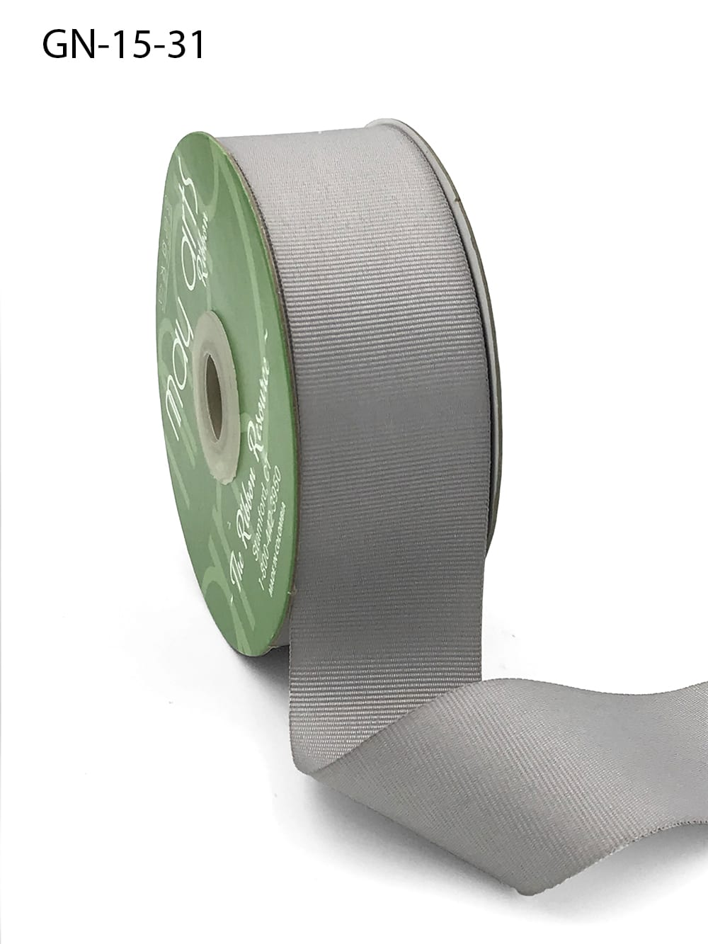 1.5 Inch Light-Weight Flat Grosgrain Ribbon with Woven Edge - GN-15-31 Silver