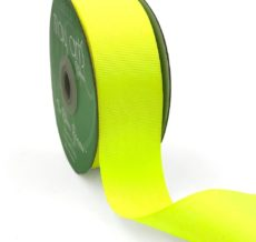 1.5 Inch Light-Weight Flat Grosgrain Ribbon with Woven Edge - GN-15-57 Neon Yellow