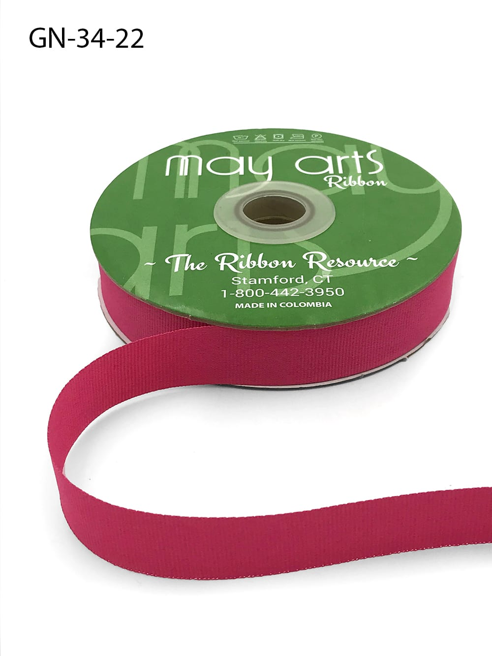 ~3/4 Inch Light-Weight Flat Grosgrain Ribbon with Woven Edge - GN-34-22 Fuschia