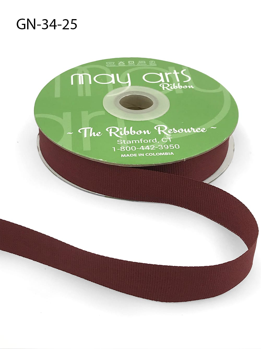 ~3/4 Inch Light-Weight Flat Grosgrain Ribbon with Woven Edge - GN-34-25 Burgundy
