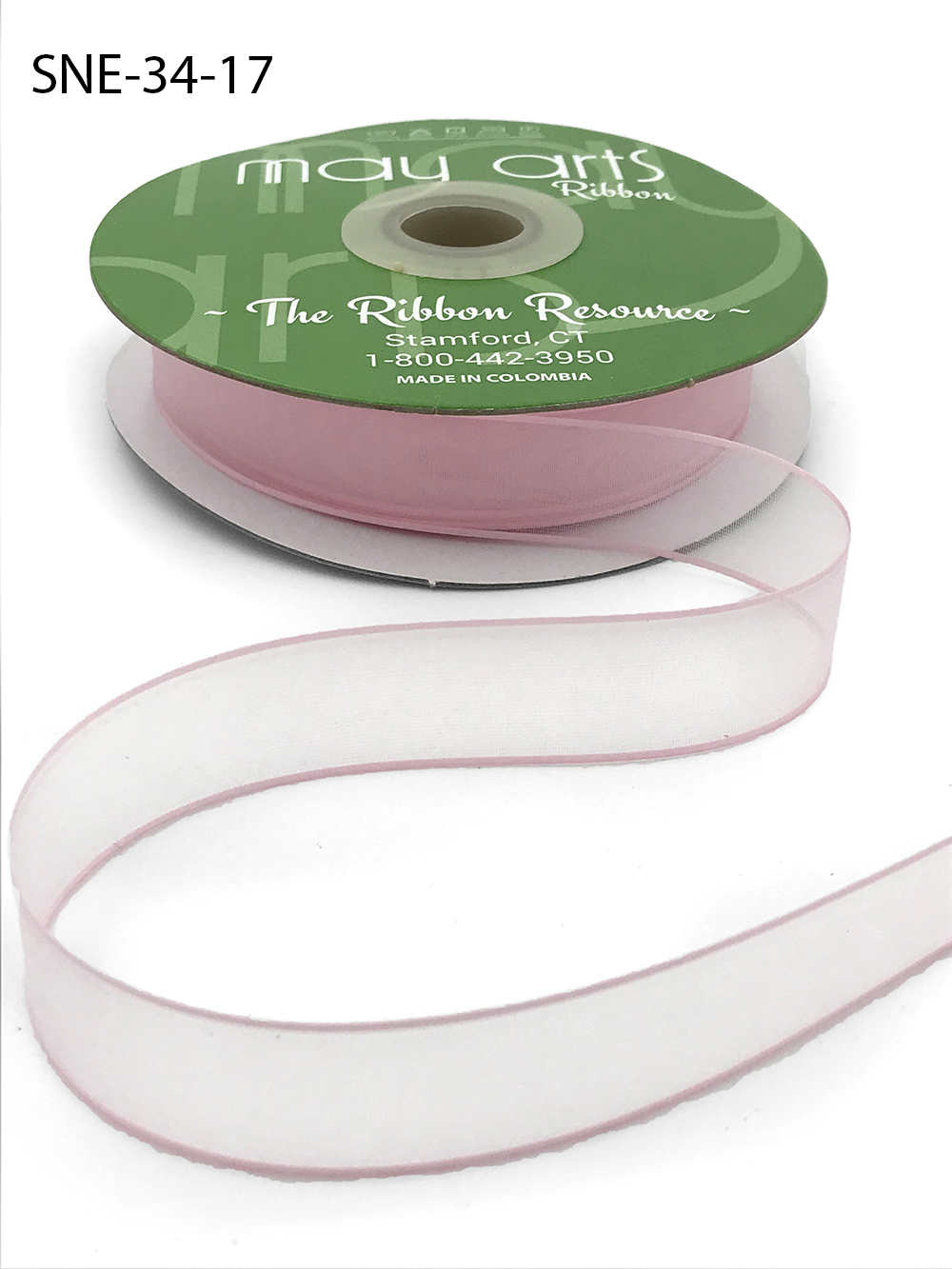 3/4 Inch Soft Sheer Ribbon with Thin Solid Edge - SNE-34-17 Light Pink