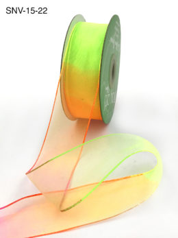 1.5 Inch Soft Variegated (multi-color) Sheer Ribbon with Thin Solid Edge - SNV-15-22 Neon Orange/Neon Green/Neon Pink