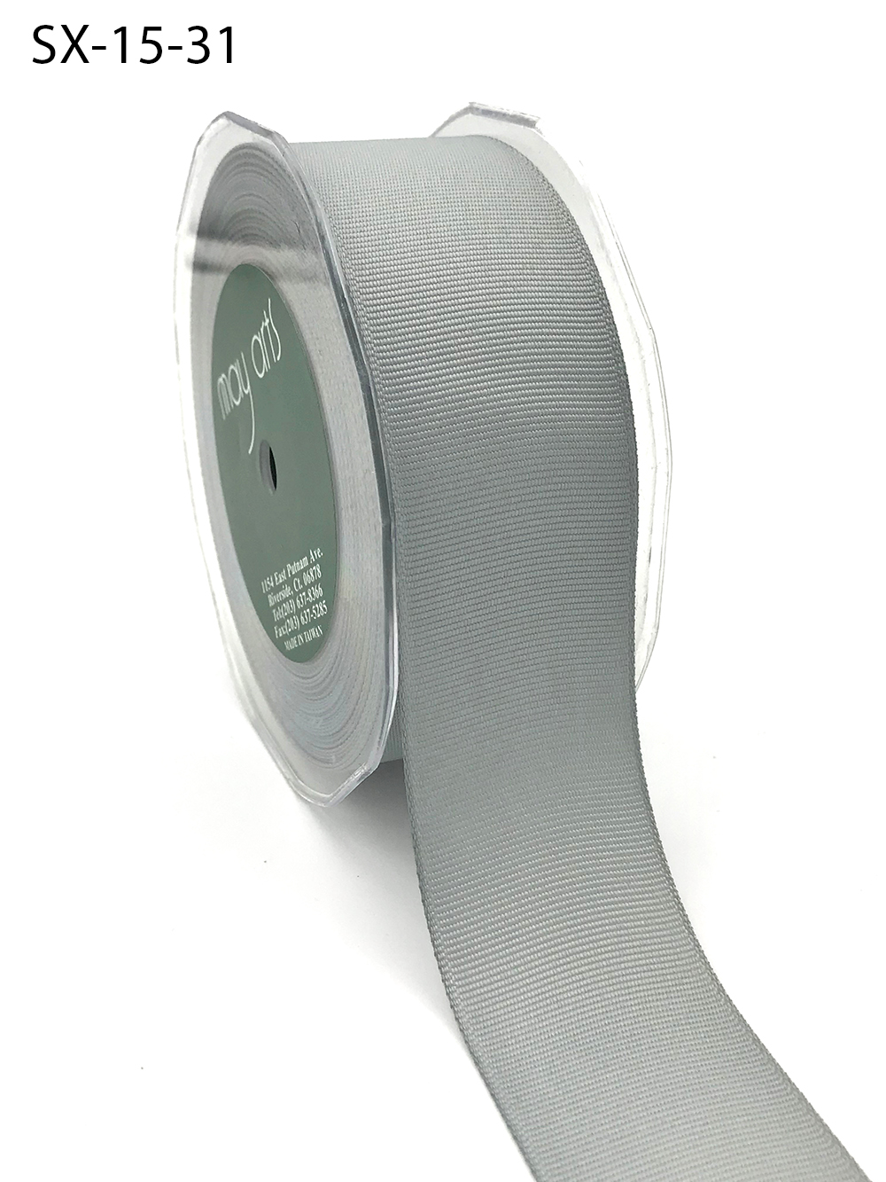 1.5 Inch Heavy-Weight (higher thread count) Classic Grosgrain Ribbon with Woven Edge - SX-15-31 Silver