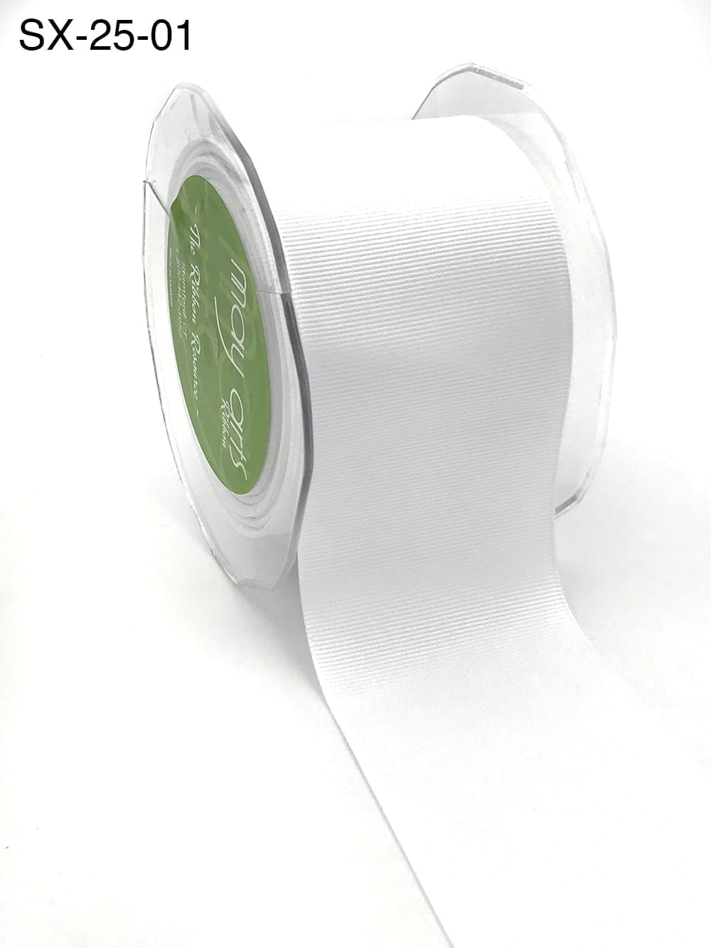 2.5 Inch Heavy-Weight (higher thread count) Classic Grosgrain Ribbon with Woven Edge - SX-25-01 white