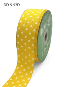 1.5 Inch Grosgrain Printed Dots Ribbon with Woven Edge - DD-5-57D YELLOW/WHITE DOTS