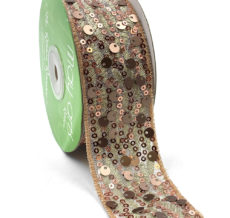 Rose Gold Soft Mult-Sequin Woven Waved Mesh Ribbon