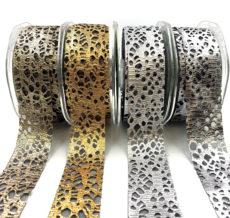 "1.25"" Organza Backed Metallic Web RIbbon Halloween Ribbon"
